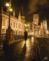 girl walking over bridge night ghent belgium photography roaming ralph