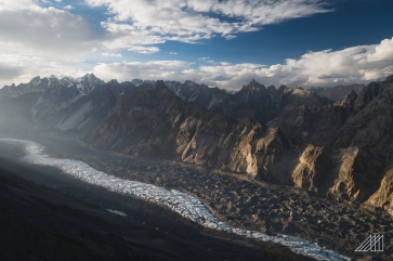 batura glacier golden hour pakistan