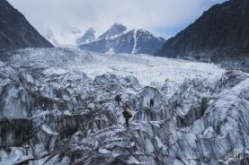 crossing the passu glacier pakistan hunza