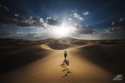 sunset walk in dune erg chebi morocco